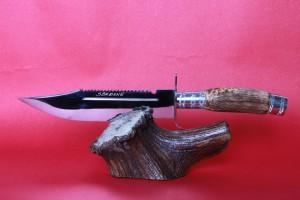 SBH4107 - Sürmene elyapımı av bıçğı sap geyikboynuzu.