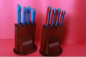 SBM1013 - Sürmene elyapımı bordo mavi mutfak bıçak setleri.